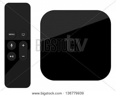 Tv player box device with remote wireless pilot. High detailed. 3d rendering.