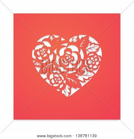 Template card heart with flowers for laser cutting. Roses and wedding leaves, save the date, Valentine's Day. Stencil for paper, plastic, wood.
