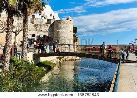 Peniscola Spain - March 3 2016: View to the old town of Peniscola. Costa del Azahar province of Castellon Valencian Community. It is a popular tourist destination in Spain