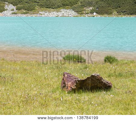 Rifflsee Shore In Austria In Summer