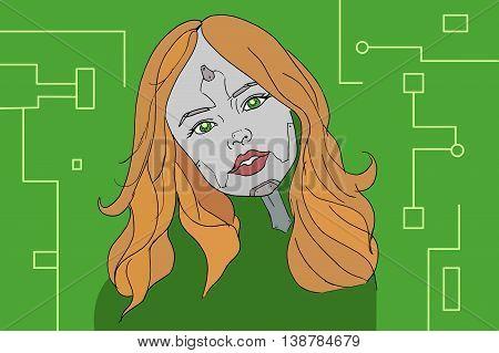Cyborg girl illustration. Hand drawn vector stock illustration.