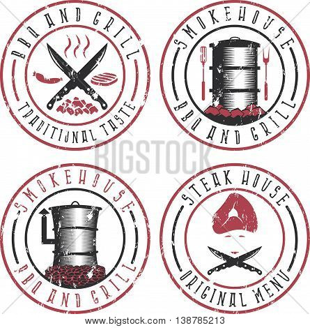 Vector Illustration Grunge Set Of Bbq , Steakhouse And Smokehouse Labels