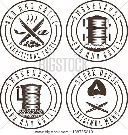 Vector Illustration Set Of Bbq , Steakhouse And Smokehouse Labels