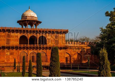 Taj Mahal. Entrance Gate Made Of Red Brick. Agra, India