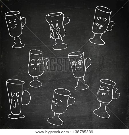 Glass collection with faces. Hand drawn vector stock illustration. Chalk board drawing.