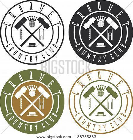 Vintage Labels Set Of Croquet Country Club