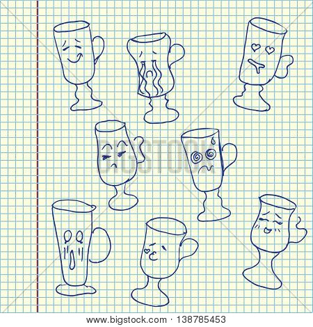 Glass collection with faces. Hand drawn vector stock illustration. Sheet ball pen drawing.