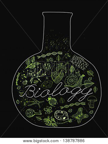 Hand drawn biology pattern with neon green biological drawings on a dark gray textured background. Editable vector illustration. Scientific typography. I like biology concept