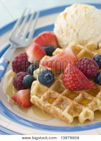 Sweet Waffles with Berries Ice Cream and Syrup