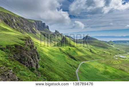 Pinnacles of the Quiraing Hill the Northernmost Summit of the Trotternish on the Isle of Skye Scotland