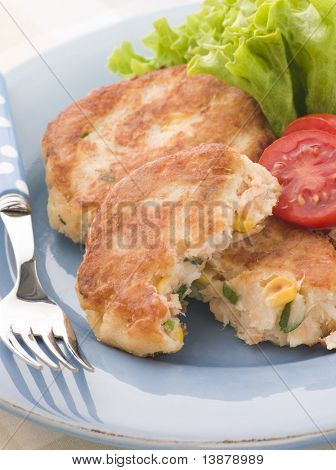 Cod and Salmon Fish Cakes with Corn and Salad