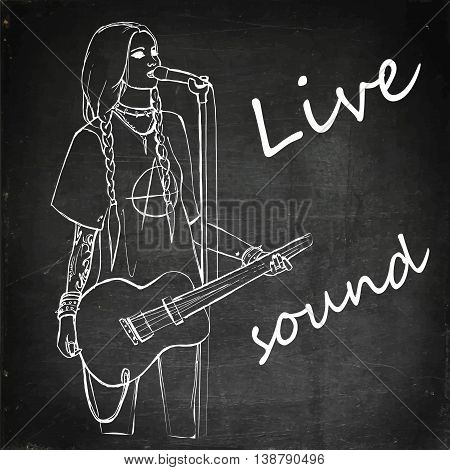 Rock girl with guitar. Rock star. Hand drawn vector stock illustration. Chalk board drawing.