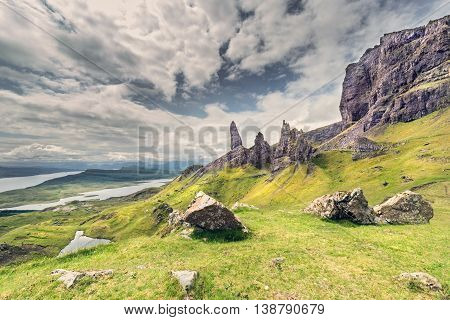 Summit of Old Man of Storr on the Isle of Skye in Scotland poster