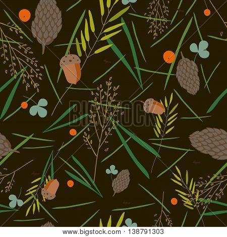 pattern with the image of the forest cones fir needles leaves blades of grass acorns and ants on a brown- green background