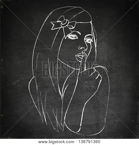 Shhh... girl Hand drawn vector stock illustration Chalk board drawing