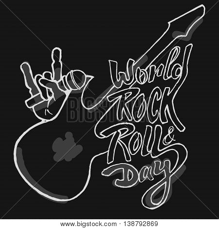 World day of rock. Hand drawn vector stock illustration.