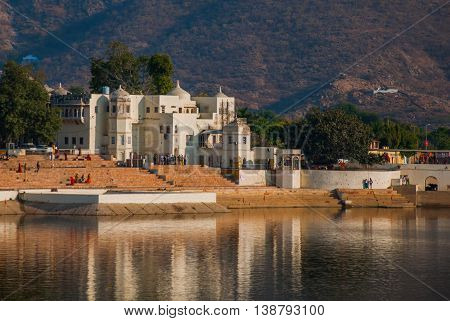Pushkar. India.houses Reflected In The Water. A Beautiful Lake.