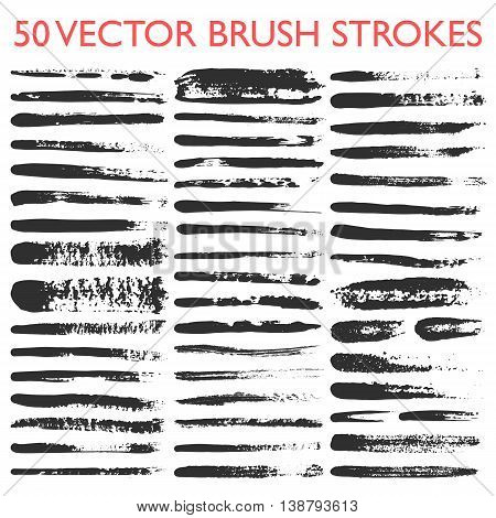 Big set of 50 vector grungy artistic brushes. Messy hand drawn mascara, pencil and ink strokes isolated on white background. Qualitative trace of real texture. Art Brushes included in EPS file