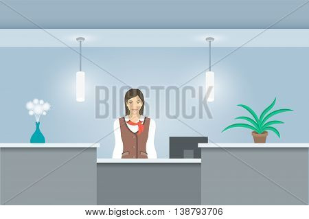 Young woman receptionist in uniform stands at reception desk. Front view. Vector flat illustration. Office hall interior design with green plants and girl administrator. Hotel registration background