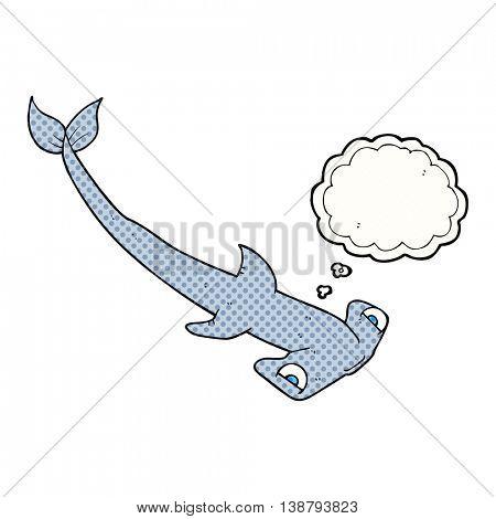 freehand drawn thought bubble cartoon hammerhead shark