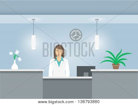 Woman receptionist in medical coat stands at reception desk in hospital. Front view. Vector flat illustration. Dental office interior design with green plants and girl administrator. Clinic registry