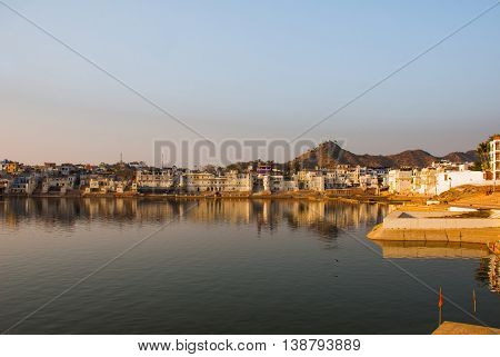 Pushkar is a city in the Ajmer district in Rajasthan, India. It is one of the five sacred dhams for devout Hindus. It is one of the oldest existing cities of India.