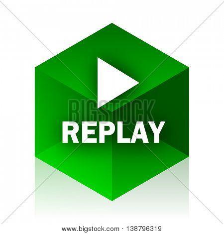 replay cube icon, green modern design web element