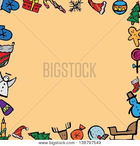 Christmas icons set. Holiday objects collection. Hand drawn vector stock illustration. Seamless background pattern.