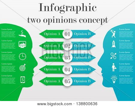 Infographic two opinions concept. Business template with 5 options for each side. Solution of the problem from two opposite points of mind
