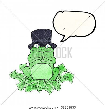 freehand speech bubble textured cartoon rich frog in top hat