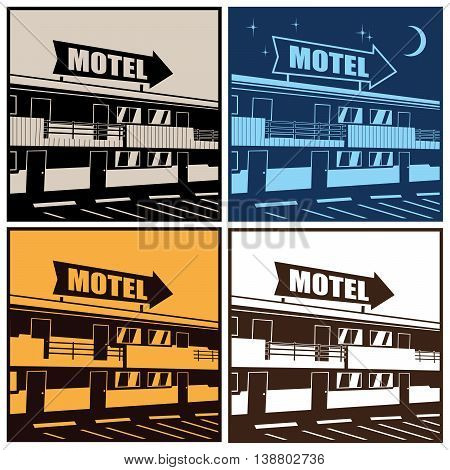 Stylized vector illustration of the motel at different times of the day