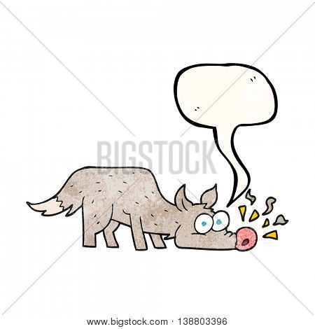 freehand speech bubble textured cartoon dog sniffing