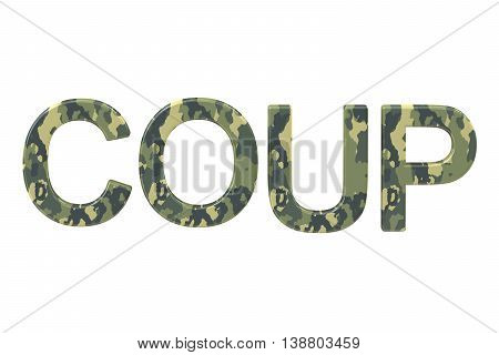 Coup concept 3D rendering isolated on white background