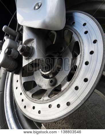 Wear brake disc on the front wheel of motorcycle
