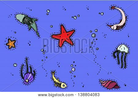 Sea underwater creatures. Hand drawn vector stock illustration.