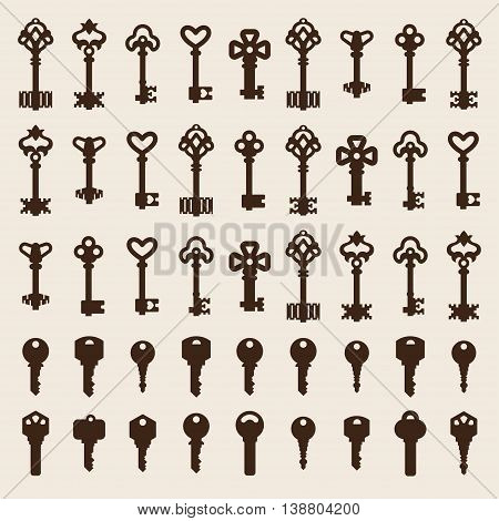 Vintage key antique door key isolated on white background. Access household vintage key. Retro door metal security vintage key and vintage key safe house decorative. Decorative key silhouette