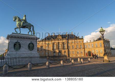 Amalienborg And Frederik V On Horseback Illuminated In Early Morning, Copenhagen, Denmark