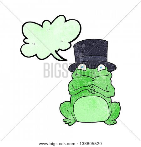 freehand speech bubble textured cartoon frog in top hat