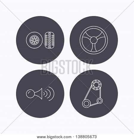 Klaxon signal, tire tread and steering wheel icons. Generator belt linear sign. Flat icons in circle buttons on white background. Vector