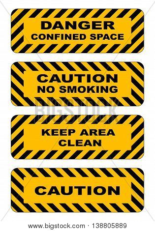 Industrial striped road warning yellow-black baanners set caution keep area clear no smoking confined area