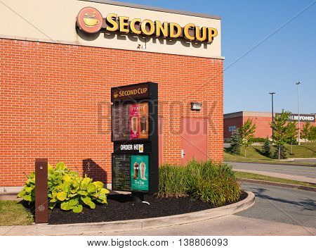 DARTMOUTH CANADA - JULY 16 2016: Second Cup is a coffee retailer headquartered in Ontario Canada. Second Cup has over 345 locations across Canada and also operates in several countries across the world.