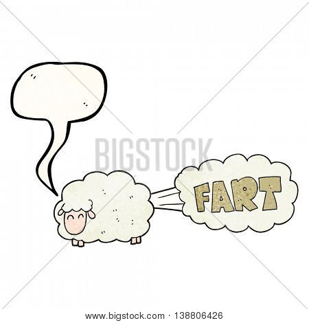 freehand speech bubble textured cartoon farting sheep