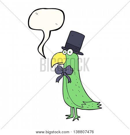 freehand drawn speech bubble cartoon posh parrot