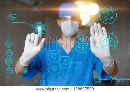 Doctor In Blue Uniform Touch Display With Infographics. Modern Professional Surgeon In The Operating