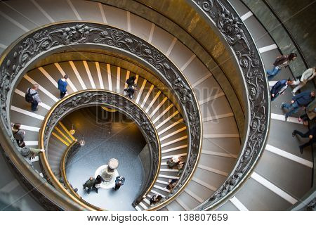 ROME, ITALY - APRIL 8, 2016: Spiral stairs of the Vatican Museums in Vatican city