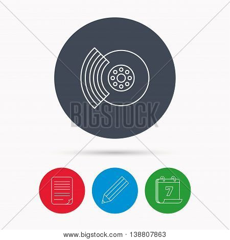 Brakes icon. Auto disk repair sign. Calendar, pencil or edit and document file signs. Vector