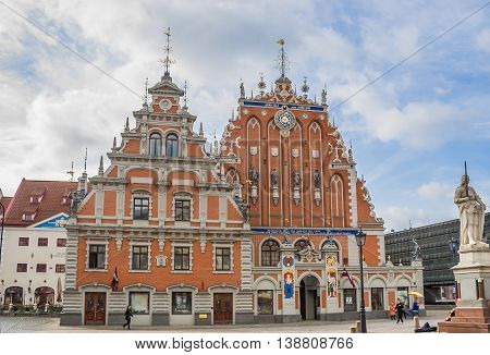 RIGA, LATVIA - MAY 1, 2010: House of the Blackheads in the historical center of Riga, Latvia
