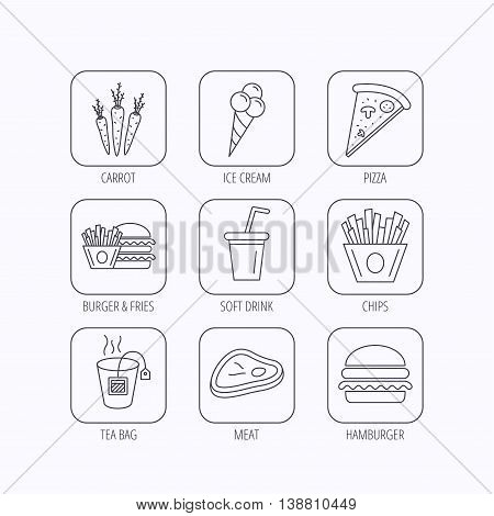 Hamburger, pizza and soft drink icons. Tea bag, meat and chips fries linear signs. Ice cream, carrot icons. Flat linear icons in squares on white background. Vector