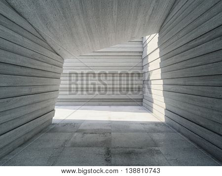 Architectural design concrete corridor with abstract geometry, 3D illustration.