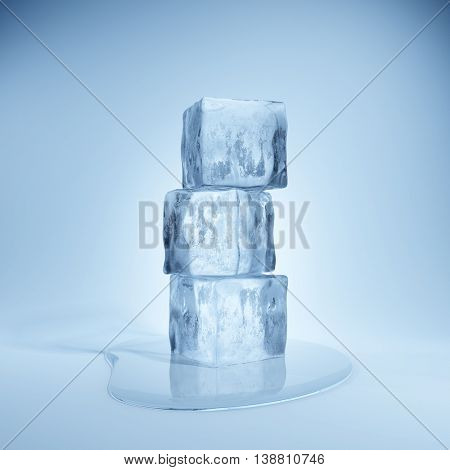 Ice cubes and water drop on blue background. 3D illustration.